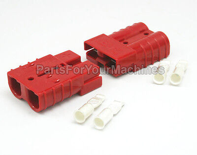 2 CONNECTOR PLUGS w/ #6 CONTACTS,  50A, RED, ANDERSON, REPL  TENNANT 49548