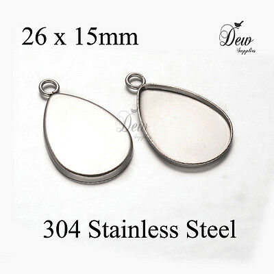 20 x 304 stainless steel drop pendant tray bezel cabochon setting 21mm x 15mm