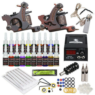 Tätowierung Komplett Tattoo Kit Set 2 Tattoomaschine 20 color inks HW-9ND-13CE