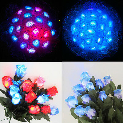 Decoration LED Flashing Light Colth Rose Halloween Christmas Flowers Lovers Gift