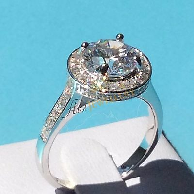12mm Halo Created Diamond Engagement Wedding Ring in Real 925 Sterling Silver