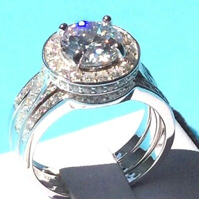 3pc Bridal Set: Real 925 Silver 12mm Simulated Diamond Engagement Wedd Halo Ring