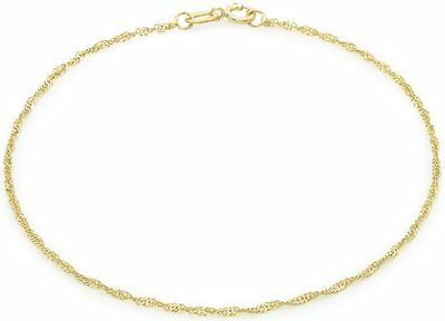 Carissima Gold 9 ct Yellow Gold Twist Curb Anklet of Length 22.5 cm/9 inch
