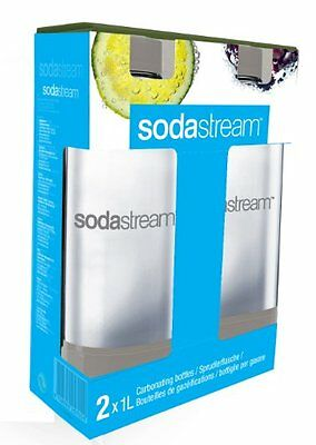 SodaStream Plastic Carbonating Bottles 1 L - Grey (Pack of 2)