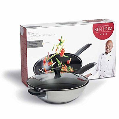 Ken Hom Stainless Steel Non-Stick Wok with Glass Lid, 32 cm - Silver
