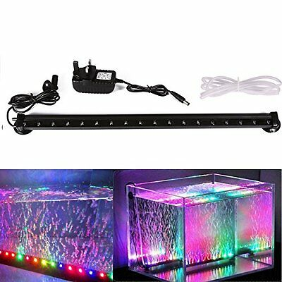 Xcellent Global Multi Colour 18 LED Aquarium Fish Tank Light RGB Air Bubble Lamp