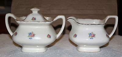 Vintage W S George Lido Shape Priscilla White Sugar Bowl with Lid & Creamer