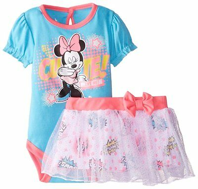 DISNEY Baby Girl Minnie Mouse Bodysuit Mesh Tulle Skirt Set Two Piece Outfit 6/9