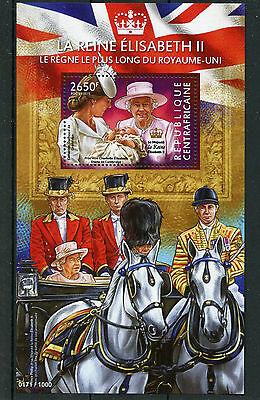 Central African Rep 2015 MNH Queen Elizabeth II Longest Reigning 1v S/S Stamps