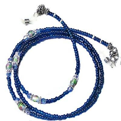 Dark Blue lampwork crystal - Reading eye glasses spectacle chain lanyard