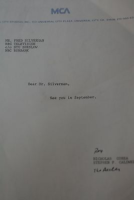 """1980 Letter to Fred Silverman NBC Studio from Nick Corea """"See you in September"""""""