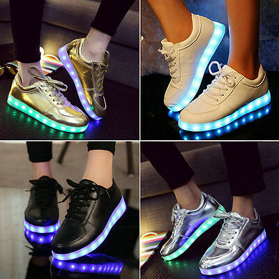 Men Women LED Light Lace Up Luminous Sportswear Sneaker Luminous Casual Shoes