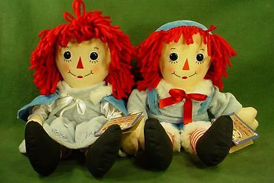 "Classic Hasbro Raggedy Ann & Andy 16"" Dolls With Tags & Winter Outfits"