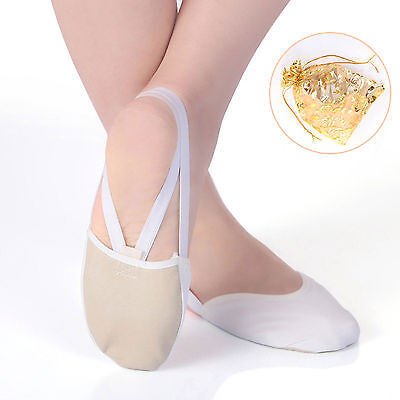 Toe Shoes Half Shoes Leather Sole Dance Ballet Jazz White Rhythmic Gymnastic Sof