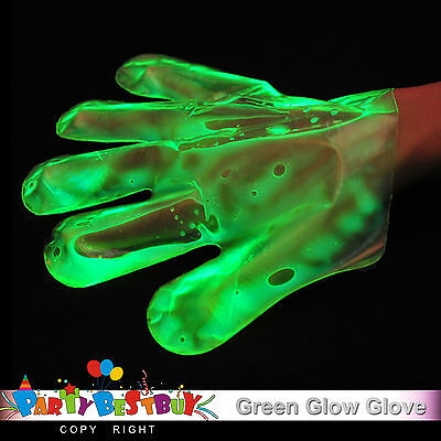 20X Green Glow Gloves In The Dark Light Party Games Night Fun Neon Decoration
