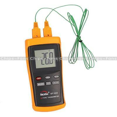 Hot DUAL TWO CHANNEL 2 K-TYPE DIGITAL THERMOMETER THERMOCOUPLE SENSOR 1300°C UK