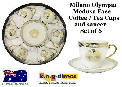 Milano Medusa Face Tea Coffee Cups And Saucers Set Of 6 Porcelain Gold Rm0863B