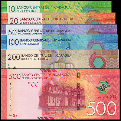 Nicaragua Set 6 PCS, 10 20 50 100 200 500 Cordobas, 2015, Polymer and Paper, UNC