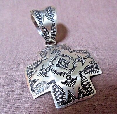 Native Navajo Hand Stamped Sterling Cross Pendant by Vincent Platero JP0117