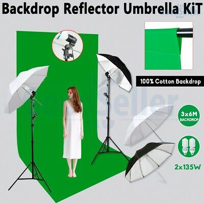 Photo 3x6m Green Screen Muslin Backdrop Studio Umbrella Lighting Light Stand Kit