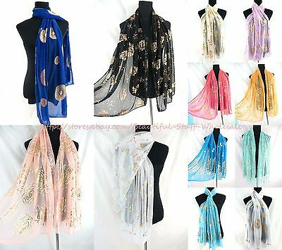 US SELLER-lot of 5 Fashion Scarves gold print mandala floral women scarf