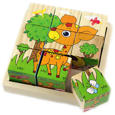 1PC Three-dimensional Puzzle Toy Wood Six Face Painting Puzzle for Children Gift