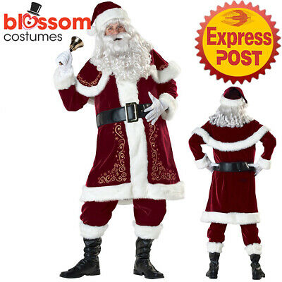 K112 Mens Santa Suit Christmas Xmas Clause Fancy Dress Up Costume Outfit + Hat