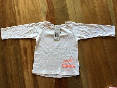 BNWT $19.95 Bonds Baby Cotton Smile Long Sleeve Tee Top Size 0 Soft Touch Sale
