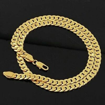 New Yellow Solid Gold Cuban Chain Necklace Thick Mens Jewelry Womens Punk