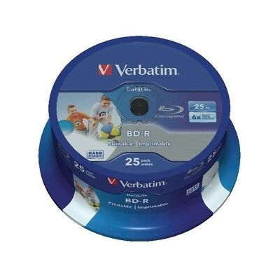 Verbatim Blu-ray BD-R 25 GB 6x Printable Spindle Pk 25 43811