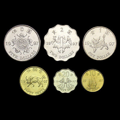 HongKong Hong Kong Set 6 Coins,10+20+50 cents +1+2+5 dollars, 1997, UNC