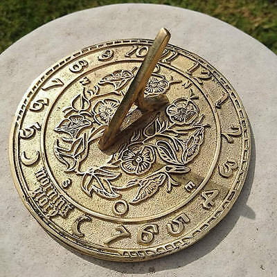 Solid Round Brass 'Morning Glory' Sundial with a Flowers & Vines Design 136mm