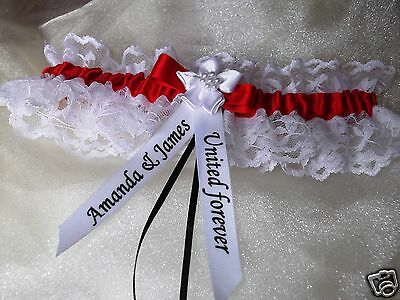 Personalised Red And White Wedding Garter Manchester United Sunderland Colours
