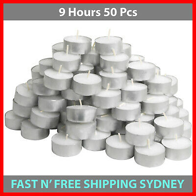 Tea Light Candles 9 Hour 50pcs Bulk Tealight Candle Tea Lights Tealights White