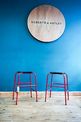 A Pair Of Red Industrial Science Lab School Stools 1950's Free Uk P&p