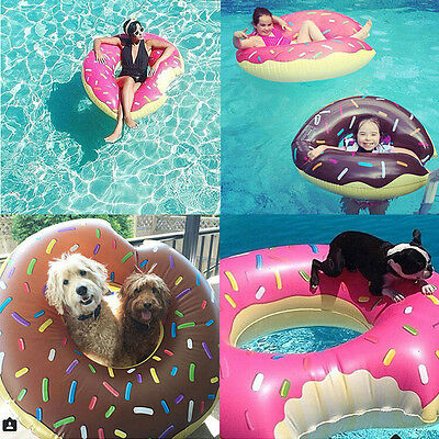 Inflatable Giant Donut Shape Swim Ring Pool Float For Adults Beach Lake Play NEW