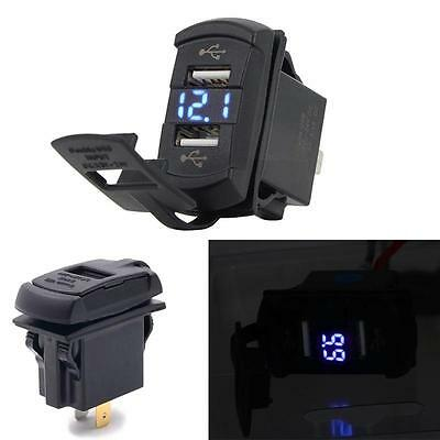 Portable 2 in1 Rocker Style Dual USB Digital Voltmeter 4.2A Car Charger Blue LED