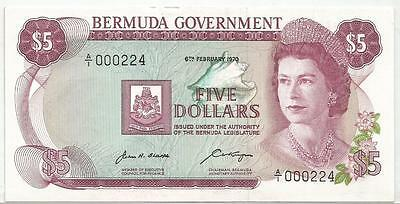 Bermuda Bermudes 5 Dollars 06/02/1970  Pick 24  Unc Neuf Low Serial 000224