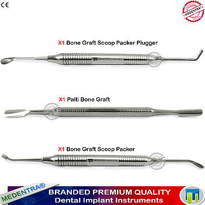 Set Of 3 Implant Oral Surgery Instruments Bone Spoon Graft Packer+Palti Scoop CE