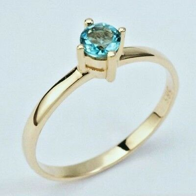 New  9K Yellow Solid Gold Rings,natural Blue Topaz, Instock