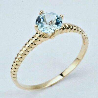 New  9K Solid Gold Ring With Genuine Natural  Blue Topaz
