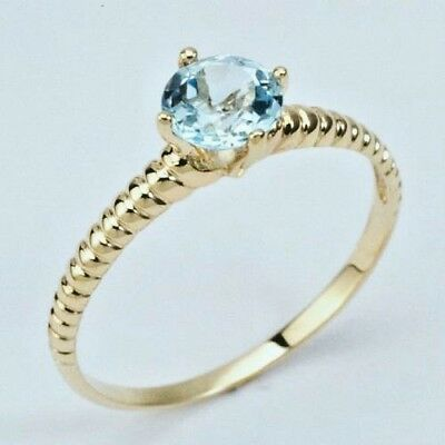 New  9K Solid Gold Ring With Natural Blue Topaz,instock