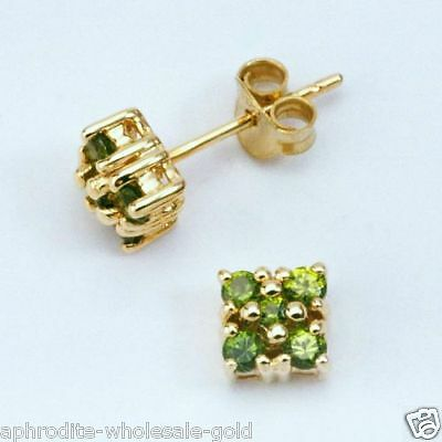 New 9K- Solid Gold Earrings With 10 Genuine Natural Emeralds,