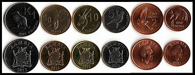 Set of 6pcs Zambia Coins Animal 1,2,5,10,50 Ngwee 1 Kwacha Africa Collection UNC