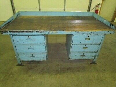 "Vintage Steel Reloading Bench Industrial Workbench w/72x36"" Butcher Block Top"