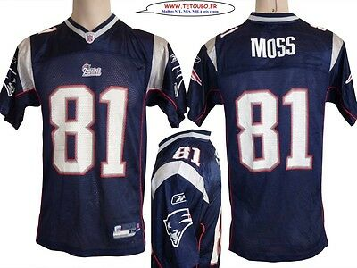 Maillot nfl Foot US américain PATRIOTS N°81 MOSS Taille S ou 14 Ans (fr)