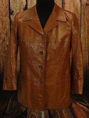 Leather jacket, safari boho soul 60s 70s TRUE VINTAGE Size M short arm  (LJ105)