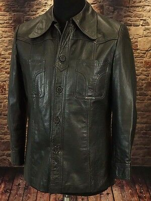 Leather jacket, safari boho soul 60s 70s TRUE VINTAGE Size M short arm  (LJ115)