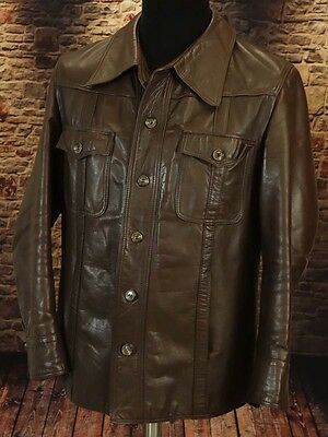 Leather jacket, safari boho soul 60s 70s TRUE VINTAGE Size XL short arm  (LJ119)
