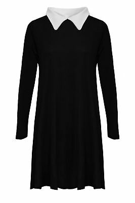 Womens Peter Pan Swing Dress Collared Addams Family Top Flared Plus Size Jersey